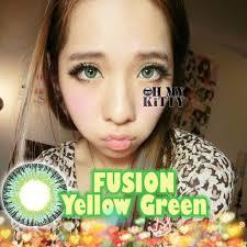 fusion yellow green diameter 14mm cosplayers ohmykittydot contacts circlelenses por cosplay eyes makeup colourvue make up