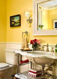 Yellow bathroom color ideas Bathroom Decorating And Sea Shells In Yellow Colors Sunflowers Printed On Canvas Or Few Individual Wall Tiles With Yellow Designs Bring Beautiful And Powerful Decorative Lushome 25 Modern Bathroom Ideas Adding Sunny Yellow Accents To Bathroom Design