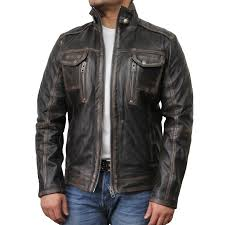 mens black biker leather jacket allan brandslock