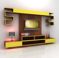 Trendy Grey Table Lamp On It Wall Mounted Tv Cabinet Plus Furniture Yellow  And Racks Complete