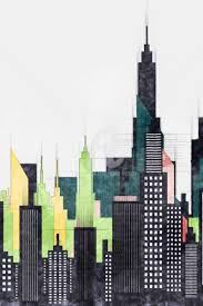 architectural drawings of skyscrapers. Plain Skyscrapers Colorful New York City Buildings And Skyscrapers  Digital Arts 2018 By  Radu Bercan Intended Architectural Drawings Of A