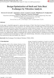 Research Paper On Heat Exchanger Design Design Optimization Of Shell And Tube Heat Exchanger By