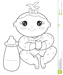 Baby Girl Coloring Page Stock Illustration Illustration Of