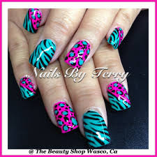 Nail Art Design Animal Print Turquoise And Pink Animal Print Nail Art Design Zebra Nail
