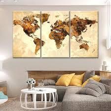 rustic world map multi panel canvas wall art panels fabric
