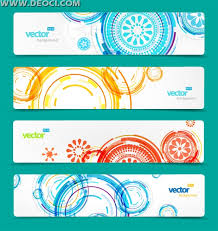 4 set of vector website banner design templates background free