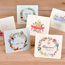 Birthday Business Cards 6pc Lot Creative Flower Universal Greeting Card Mini Holiday Card