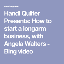 Handi Quilter Presents: How to start a longarm business, with ... & Handi Quilter Presents: How to start a longarm business, with Angela  Walters - Bing Adamdwight.com
