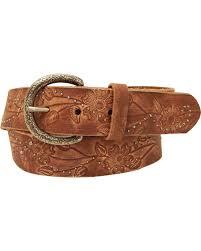 zoomed image roper women s brown fl design leather belt brown hi res