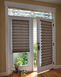 blinds for glass front doors roman shade on french door with stained glass french doors door