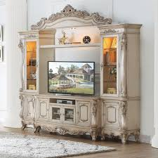 Lighted Entertainment Center Acme Furniture Gorsedd Traditional Antique White