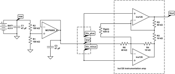 emg and ekg works gas station out pumps schematic for the emg circuit the op amp is used to create a virtual ground halfway between the power rails the instrumentation amplifier is set to have a
