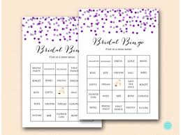 Wedding Bingo Words Prefilled Purple Silver Bridal Shower Bingo Cards