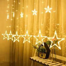 Easy Way Hang Christmas Lights Outdoor Amazon Com Yanbaa Led Stars Christmas Hanging Curtain