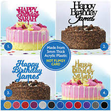Details About Happy Birthday Any Name Personalised Custom Cake Topper Birthday Decorations