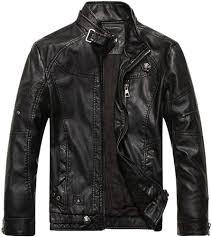 Chouyatou <b>Men's</b> Vintage Stand Collar <b>Pu Leather</b> Jacket (X-Small ...