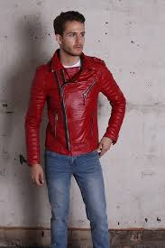 kay michael quilted red leather biker jacket for men