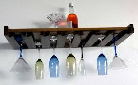 wine glass rack wall mount and bottles with wooden material  home