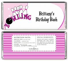 Bowling Girl Birthday Party Candy Bar Wrappers | Candles & Favors