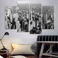 4 pieces black and white new york city modern city home wall decor canvas picture art