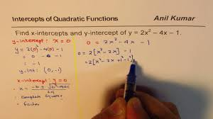 find x and y intercept of quadratic equation in standard form