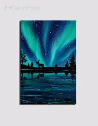mini painting northern lights painting by artcolorspace