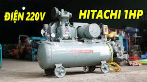 Cặp Đôi Máy Nén Khí Bơm Hơi Nhật Bản Hitachi 1HP Điện 1Pha Bình 50L    Hitachi Compressed Air - YouTube