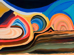 abstract painting abstract mountain and seascape by ida mitc