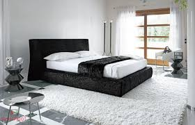 black and white bedding bedroom with white carpet