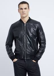 soft nappa leather er jacket with embroidered logo on the back