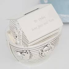 personalized noah s ark silver money box