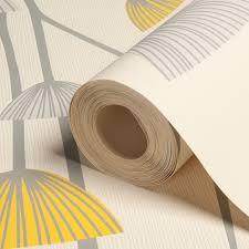 dandelion grey white yellow fl wallpaper departments