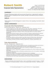 Corporate Sales Representative Resume Samples Qwikresume