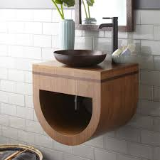 Bamboo Bathroom Sink Bowl Vessel Small Bathroom Sink Made Of Bamboo Combined With Black