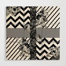 trendy black and white fl lace stripes chevron wood wall art
