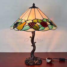 vintage stained glass fruit shaped twig small tiffany lamp loading zoom