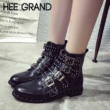 HEE GRAND Pu Leather Motorcycle Boots Zipper Winter <b>Shoes</b> ...