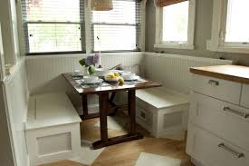 Small Custom Breakfast Nook Set With White Wood Storage Bench Under Seat  Plus Oak Table Ideas