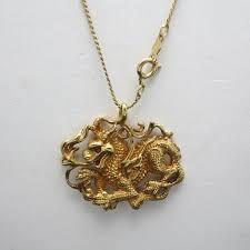 chinese dragon pendant yellow gold filled metal
