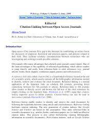 Pdf Editorial Citation Linking Between Open Access Journals