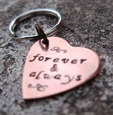 valentine s copper heart keychain forever always