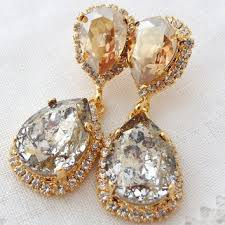 crystal gold patine and champagne chandelier earrings bridal ea