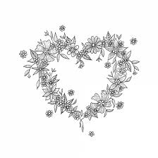 Temporary Tattoo Heart From Flowers Black And White
