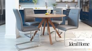 modern round walnut table