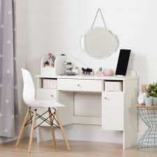 south s vito pure white makeup desk with drawer