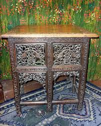 antique indian side table with beautiful hand carved decoration ebay