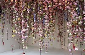 Hanging Paper Flower Backdrop 15 Lovely Hanging Flower Backdrop Ideas Lauren Wedding Flowers