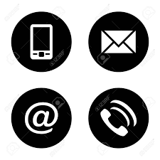 Phone And Address Vector Icon Set Black Flat Communication Icons Mobile Phone
