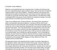 explain moral relativism a level religious studies philosophy document image preview