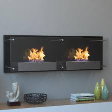 moda flame faro  in wall mounted ethanol fireplace in black